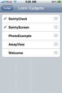 There are two cydgets in SwirlyScreen. Each can be switched on/off and its position selected.