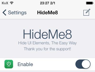 HideMe8 App for iPhone, iOS 8 a useful tool